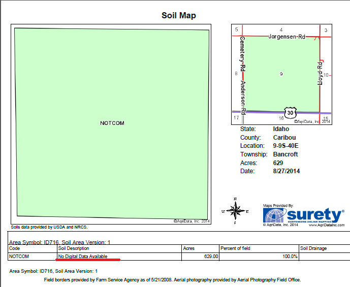 No Data for selected soils