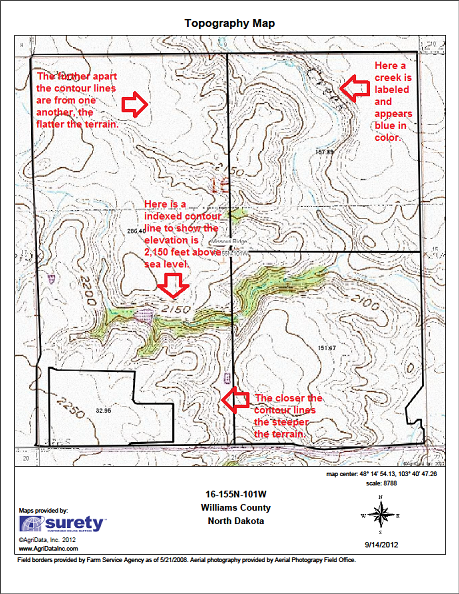 An example of a Topography Map from Surety Customized Online Mapping.