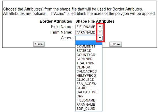 Click on a drop down to choose a Shape File Attribute to correspond with Surety Pro Border Attributes.